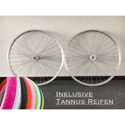 Fixie / Singlespeed Laufrad Komplettsatz in Silber inkl. Tannus Reifen